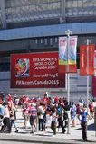 FIFA WWC Canada 2015 at BC Place Stadium in Vancouver. Women's World Soccer comes to Canada to host FIFA Women's World Cup June 6, 2015 to July 5 stock photography