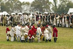 A fife and drum group of musicians wait for the beginning of the 225th Anniversary of the Victory at Yorktown, a reenactment of th Royalty Free Stock Image
