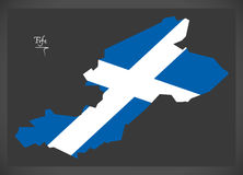 Fife map with Scottish national flag illustration. In artwork style Stock Image