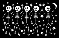 Free Fife White Human Skeletons On The Background Of Stars And The Moon. Horror For Halloween. Royalty Free Stock Photography - 161207827