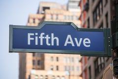 Fift avenue sign 5 th Av New York Mahnattan Stock Image