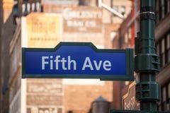 Fift avenue sign 5 th Av New York Mahnattan Royalty Free Stock Images