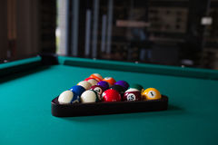 Fifteen ball on green billiard table Stock Image