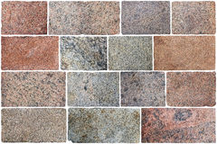 Fifteen  big rectangular granite roughly processed blocks for fl. Oor in  historical ruined castle. Isolated set Royalty Free Stock Photography