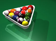 Fifteen billiard balls Stock Image