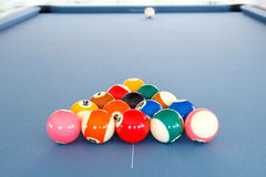 Fifteen billiard spheres lay on blue clot Stock Image