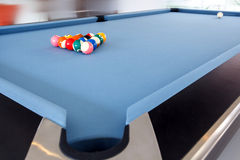 Fifteen billiard spheres lay on blue clot Royalty Free Stock Image