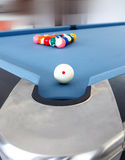 Fifteen billiard spheres lay on blue clot Stock Photography