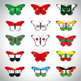 Fifteen butterflies with flags of Asian countries Stock Photo