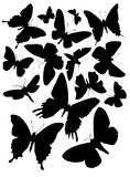 Fifteen butterfly silhouettes. Every silhouette is unique . You can easily change size and colour of each Stock Image