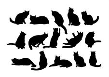 Fifteen cats. Fifteen black cat's silhouettes on a white background Royalty Free Stock Photography