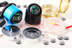 Fifteen different compasses Royalty Free Stock Image