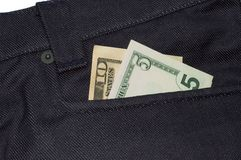 Fifteen dollars in a jeans poc Stock Image