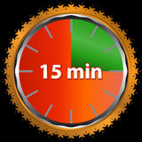 Fifteen minutes. Unique icon of hours with fifteen minutes Stock Images