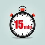 Fifteen minutes stopwatch. Illustration of fifteen minutes stopwatch isolated icon Stock Photos