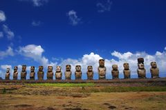 Fifteen moai at Ahu Tongariki, Easter Island Stock Photo