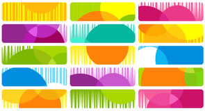 Fifteen multi-coloured banners. On white Royalty Free Stock Image