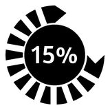 Fifteen percent download circle icon, simple style. Fifteen percent download circle icon. Simple illustration of fifteen percent download circle vector icon for Stock Image