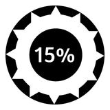 Fifteen percent download internet icon. Simple illustration of fifteen percent download internet vector icon for web Stock Photography