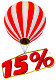Fifteen percent flies in a hot air balloon Royalty Free Stock Photos