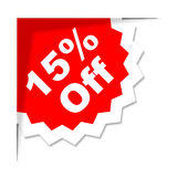 Fifteen Percent Off Means Discounts Offer And Save. Fifteen Percent Off Representing Cheap Reduction And Promotional Royalty Free Stock Image