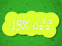 Fifteen Percent Off Represents Cheap Discounts And Sales. Fifteen Percent Off Showing Percentage Promotional And Sale Royalty Free Stock Images