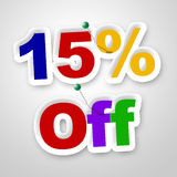 Fifteen Percent Off Represents Offer Promotional And Promo. Fifteen Percent Off Showing Cheap Promo And Offer Royalty Free Stock Image