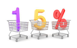 Fifteen percent symbol in shopping cart. Business concept. Separated on white Stock Photography
