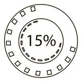 Fifteen percents infographics, outline style Stock Photo