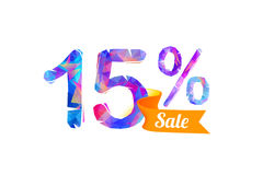 15 fifteen percents sale. Vector triangular digits Stock Photos