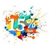 15 percents sale. Splash paint. Fifteen percents sale. Vector watercolor splash paint vector illustration