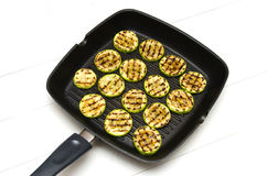 Fifteen pieces of  squash in  pan Stock Image