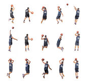 Fifteen players. Fifteen basketball player silhouettes on white background Royalty Free Stock Images