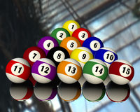 Fifteen pool billiard balls Stock Image