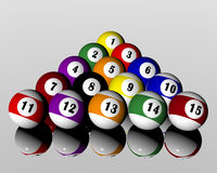 Fifteen pool billiard balls. A set of fifteen pool billiard balls Stock Illustration
