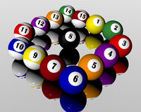 Fifteen pool billiard balls. A set of fifteen pool billiard balls Royalty Free Stock Photography