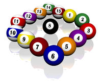 Fifteen pool billiard balls. A set of fifteen pool billiard balls Stock Images