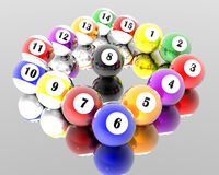 Fifteen pool billiard balls. A set of fifteen pool billiard balls Royalty Free Stock Photos