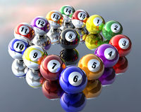 Fifteen pool billiard balls. A set of fifteen pool billiard balls Royalty Free Stock Photo