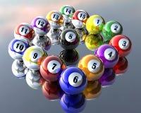 Fifteen pool billiard balls Royalty Free Stock Photo
