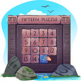 Fifteen puzzle in the form of stone blocks Royalty Free Stock Photo