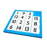 Fifteen puzzle game. The toy fifteen puzzle game. image is 3d render Royalty Free Stock Photo