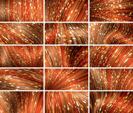 Fifteen red abstract bokeh background set Stock Image