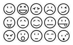 Fifteen smilies, set smiley emotion, by smilies, cartoon emoticons - vector. Fifteen smilies, set smiley emotion, by smilies, cartoon emoticons - stock vector Stock Image