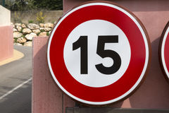 Fifteen Speed Limit Sign. Red and White Fifteen Speed Limit Sign Royalty Free Stock Images