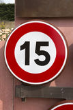 Fifteen Speed Limit Sign. Red and White Fifteen Speed Limit Sign Royalty Free Stock Image