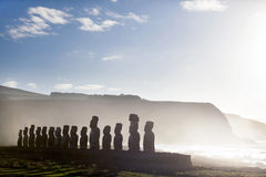 Fifteen standing moai in Easter Island. On a sunny day royalty free stock photo