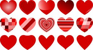 Fifteen various red hearts isolated. Fifteen red hearts with various pattern isolated on white background for valentines day Royalty Free Stock Photo