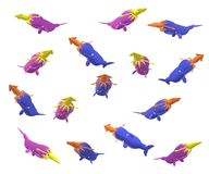 Fifteen whales and squids on a white background. In different position, 3D illustration Royalty Free Stock Photography