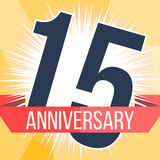 Fifteen years anniversary banner. 15th anniversary logo. Vector illustration. Stock Photography